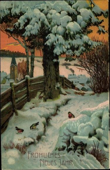 Präge Ak Glückwunsch Neujahr, Winterlandschaft, Vögel