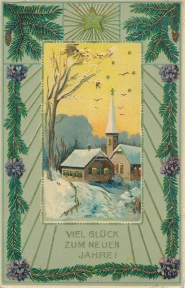 Präge Ak Glückwunsch Neujahr, Stern, Tannenzweige, Veilchen, Kirche