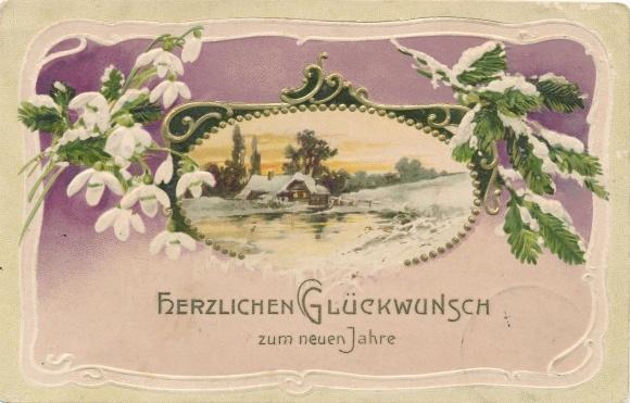 Präge Ak Glückwunsch Neujahr, Winterlandschaft, Schneeglöckchen, Tannenzweig