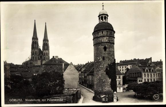 Ak Görlitz in der Lausitz, Nicoleiturm, Peterskirche, Wohnhäuser