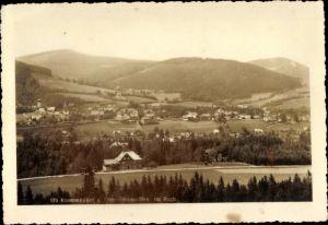 Ak Karpacz Krummhübel Riesengebirge Schlesien, Totalansicht, Ober Steinseiffen
