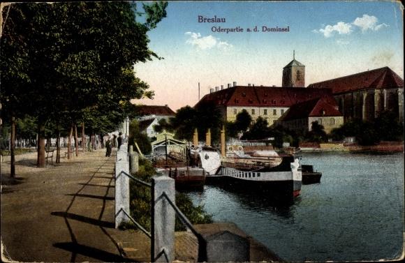 Ak Wrocław Breslau Schlesien, Oderpartie, Dominsel, Dampfer