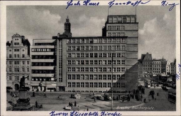 Ak Wrocław Breslau Schlesien, Blücherplatz