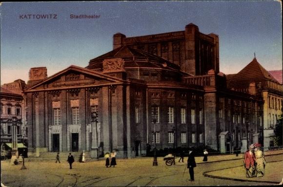 Ak Katowice Kattowitz Oberschlesien, Stadttheater