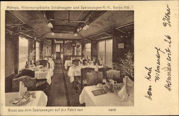 Ak Mitropa, Mitteleuropäische Schlafwagen und Speisewagen AG, Speisewagen