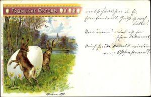 Künstler Ak Koch, O. A., Glückwunsch Ostern, Osterhasen, Osterei