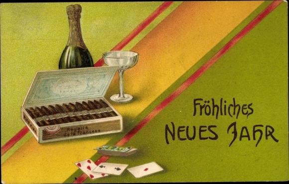 Präge Ak Glückwunsch Neujahr, Sektflasche, Zigarrenkiste, Spielkarten
