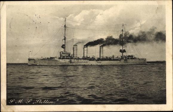 Ak Deutsches Kriegsschiff, SMS Stettin, Kaiserliche Marine