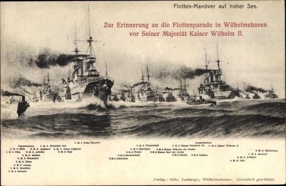 Ak Deutsche Kriegsschiffe, Flottenmanöver, Flottenparade in Wilhelmshaven, Kaiserliche Marine