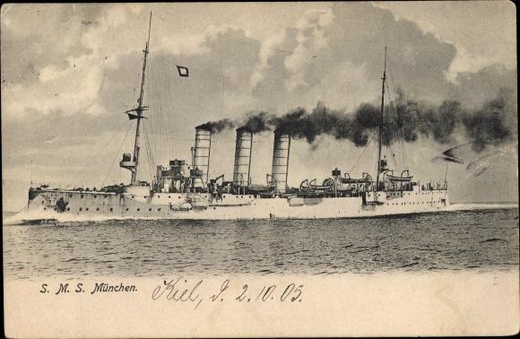 Ak Deutsches Kriegsschiff, SMS München, Kaiserliche Marine