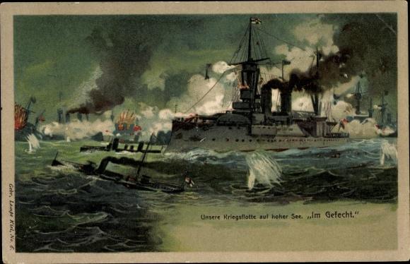 Litho Deutsche Kriegsschiffe, Kriegsflotte auf hoher See, Gefecht