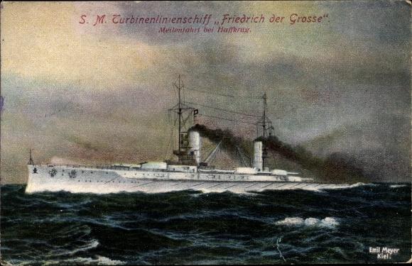 Ak Deutsches Kriegsschiff, SM Turbinenlinienschiff Friedrich der Große, Meilenfahrt, Haffkrug