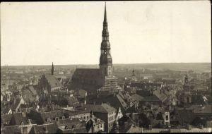 Foto Ak Riga Lettland, Petrikirche, Stadtpanorama
