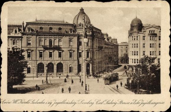 Ak Lwów Lemberg Ukraine, Carl Ludwig Straße, Ecke Jagielloner Gasse, Straßenbahn