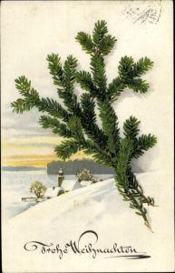 Ak Frohe Weihnachten, Tannenzweige, Winterlandschaft