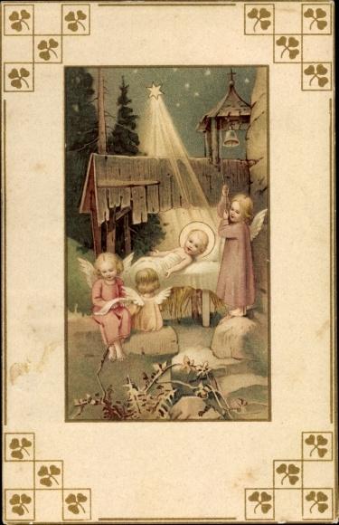Bilder Weihnachten Krippe.Ak Frohe Weihnachten Jesuskind In Krippe Engel Weihnachtsstern