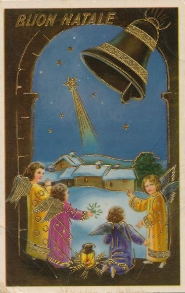 Ak Frohe Weihnachten, Buon Natale, Engel, Glocke