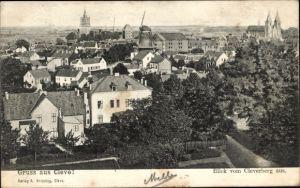 Ak Kleve am Niederrhein, Blick vom Kleverberg über die Dächer der Stadt