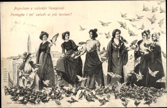 Künstler Ak Venezia Venedig Veneto, Popolane e colombi Veneziani, Frauen, Tauben