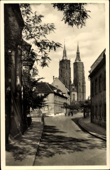 Ak Wrocław Breslau Schlesien, Dom, Straßenpartie