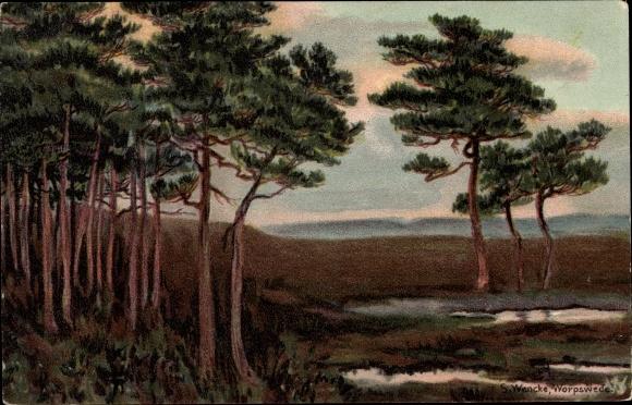 Passepartout Künstler Litho Wencke, S., Worpswede in Niedersachsen, Wald m. Heide, NKG 1055