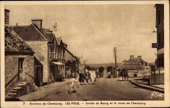 Ak Cherbourg Octeville Manche, Les Pieux, Entrée du Bourg et la route de Cherbourg