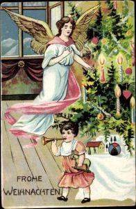 Ak Frohe Weihnachten, Engel, Tannenbaum, Kind mit Geschenken