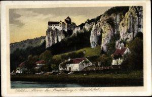 Ak Prunn Riedenburg im Altmühltal, Blick auf Dorf und Schloss, Felsen