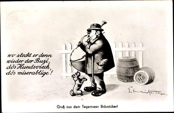 Künstler Ak Tegernsee in Oberbayern, Tegernseer Bräustüberl, Dicker Mann mit Hund
