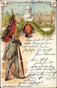 Litho Turner mit Schwarz rot goldener Fahne, Degen, Turnerbund, Turnvater Jahn