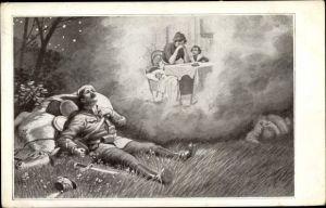 Künstler Ak Verwundeter Soldat, Frau mit Kindern am Tisch