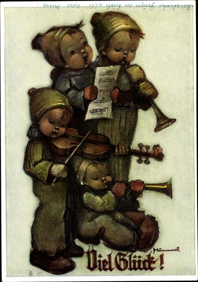 Künstler Ak Hummel, Berta, Viel Glück, musizierende Kinder, 5612