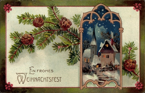 Präge Litho Glückwunsch Weihnachten, Ortsansicht bei Nacht, Tannenzweig, Kirche