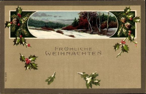 Präge Litho Glückwunsch Weihnachten, Landschaftsansicht, Stechpalmenzweige