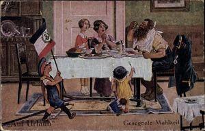 Künstler Ak Thiele, Arthur, Auf Urlaub, Gesegnete Mahlzeit, Soldat beim Essen, Vater