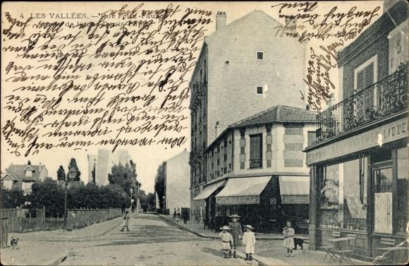 Ak Colombes Hauts de Seine, Rue Félix Faune, prise de la rue Denis Papin