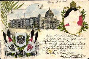 Präge Litho Berlin Mitte, Berliner Stadtschloss, Kaiser Wilhelm II., Wappen, Flaggen