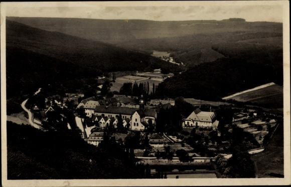 Ak Hattenheim Eltville am Rhein Hessen, Blick auf Ort und Umgebung aus der Vogelschau, Kloster, Wald