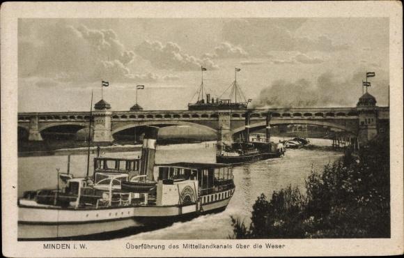 Ak Minden in Westfalen, Überführung des Mittellandkanals über die Weser, Flussdampfer