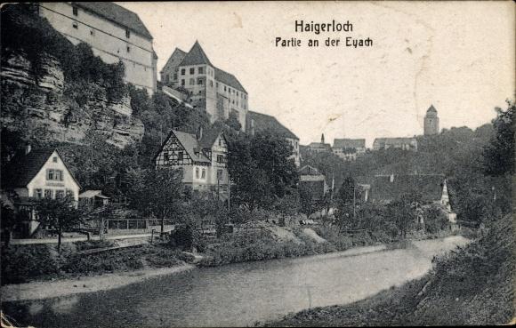 Ak Haigerloch im Zollernalbkreis, Eyach, Teilansicht der Stadt