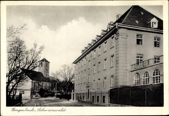 Ak Gengenbach an der Kinzig, Kirche, Mutterhaus der Franziskanerinnen vom göttl. Herzen Jesu