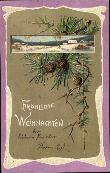 Präge Ak Frohe Weihnachten, Tannenzweige, Winterlandschaft