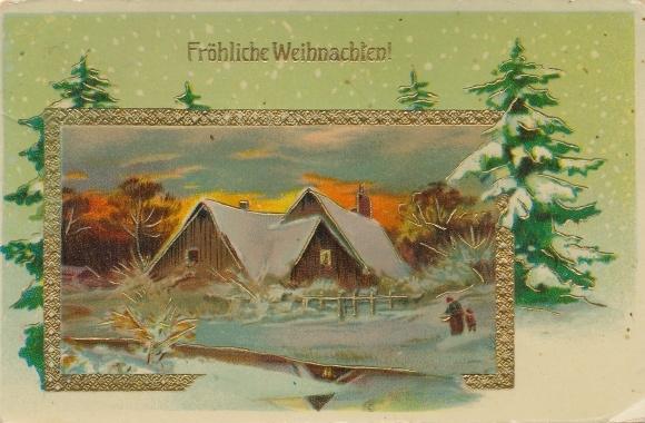 Präge Ak Frohe Weihnachten, Verschneites Wohnhaus, Tannenbäume