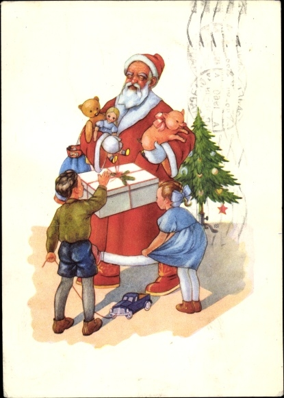 Ak Glückwunsch Weihnachten, Weihnachtsmann mit Geschenken, Kinder, Tannenbaum