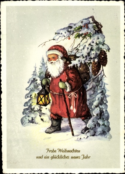 Ak Glückwunsch Weihnachten, Weihnachtsmann mit Geschenkesack im Schnee