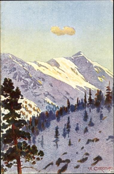 Künstler Ak Christoffel, A., Schweizer Nationalpark, Sektion v. Zernez, Murtèr, Val Cluoza, Alpen