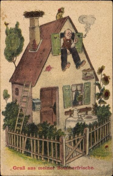 Künstler Ak Wohnhaus als Sommerfrische, Bewohner, Tabakpfeife