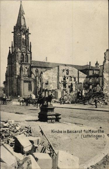 Ak Baccarat Lothringen Meurthe et Moselle, Kirche, Kriegszerstörungen, I. WK