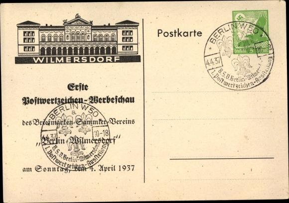 Ganzsachen Künstler Ak Berlin Wilmersdorf, Postwertzeichen Werbeschau 1937, Briefmarkensammlerverein