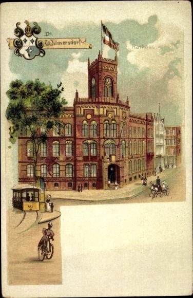 Litho Berlin Wilmersdorf, Rathaus, Straßenbahn, Wappen